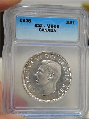 1948 Canadian Dollar Graded MS60 by ICG