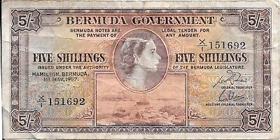 Bermuda Five Shillings Paper Note May 1st 1957, Queen Elizabeth