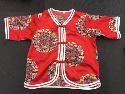 Vintage Chinese Embroidered Childs Red Silk Robe Coat Jacket Flowers Baby