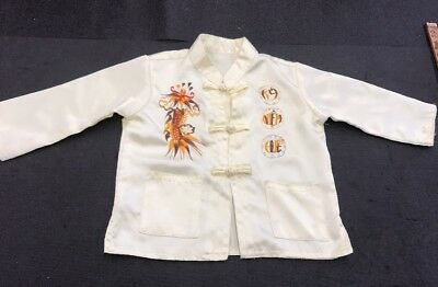 VINTAGE CHINESE EMBROIDERED Baby Yellow And Brown Flower SILK ROBE COAT JACK
