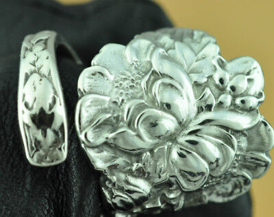 Beautiful 925 Sterling Silver Big Double Flower Spoon Ring