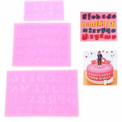 3pcs 3D Silicone Fondant Embossing Mold Baking Tools Number Capital letter UK