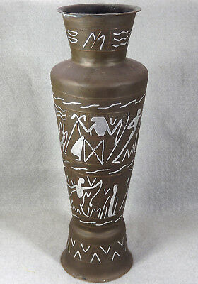 "Antique Cairoware Egyptian Silver, Copper & Brass Vase Egyptology 12"" Tall"
