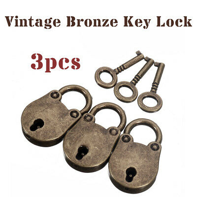 3 X Old Vintage Antique Bronze Mini Padlocks With Keys