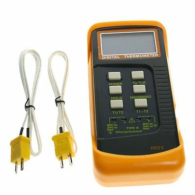 AU Ship Digital Thermometer Thermocouple Sensor 1300°C 2 K-Type UK