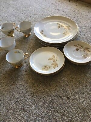 Vintage Westminster Australian gold rimmed fine China Plate Set 19 Pieces