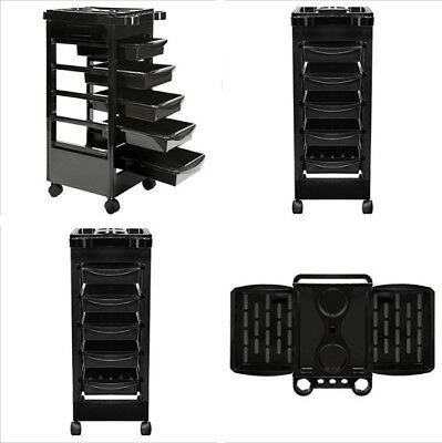 Beauty Salon Spa Multipurpose Rolling Trolley Cart Tray 5 Drawers Tool Storage