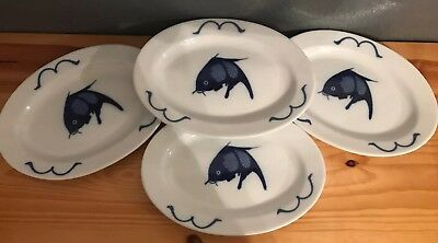 Misty Rose Super White China Oval Cobalt Blue Koi Fish Plates 10x7 Set Of 4