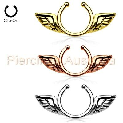 Angel Wing Non Piercing Clip On Fake Nipple Ring CHOOSE SINGLE OR PAIR