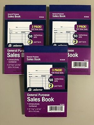 NEW LOT OF 3 Adams Sales Books, Carbon Copy Sheets 50 Receipts Per Book