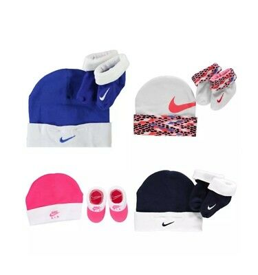 Nike Baby Clothes Girls Boys Hat Set Beanie Socks Booties Pink Newborn