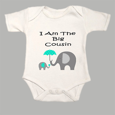 Middle Cousin Elephants Baby Grow I Am The Gro BodySuit Body Suit Vest Green