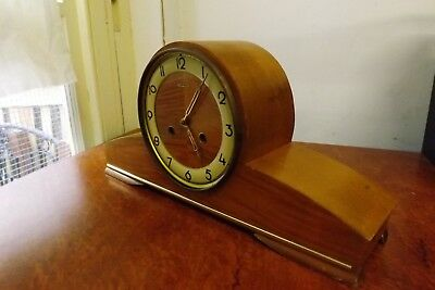 Modernist Hermle Unicorn Silky Oak Chiming Mantle Clock Working with Key