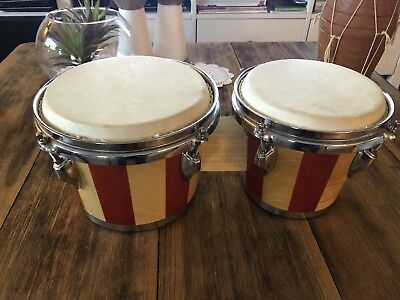 Small Bongo Drums - Coopered Wood & Skin Heads - 20cm and 18cm