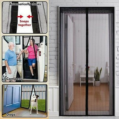 Black Hands Free Door Magnetic Curtain Fly Screen Mosquito Bug Magic Magna Mesh