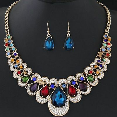 Fashion Women Bib Chain Pendant Choker Statement Crystal Necklace Earrings Set