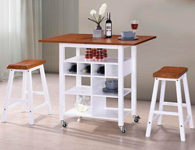 3-piece Kitchen Counter Height Dinette Set Rolling Table Set With Base Wheels