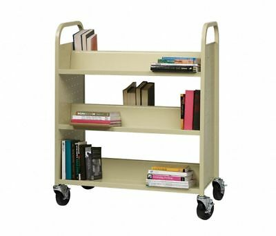 Movable Library Home Book Cart Wheeled Bookcase Rolling Library Book Truck New