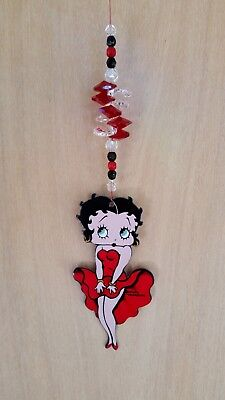BETTY BOOP ' Marilyn ' Pose with Crystal Cluster car mirror window hanging prism