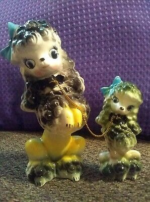 Vintage Ceramic Figurine Mother Poodle & Puppy on Chain