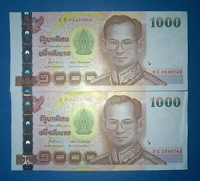 Thailand 2 x 1000 Baht Banknote, 2005, UNC, fortlaufende Nr., P115-10, TOP!