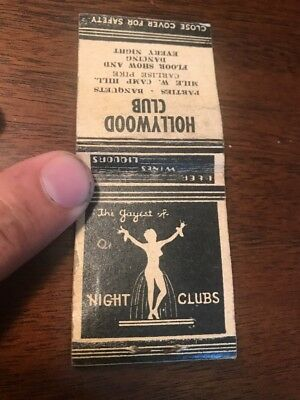 Hollywood Club Matchbook w/matches Girlie Strip Club Floor Dancing Every Night