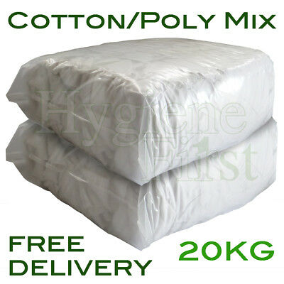 20Kg Bag of Rags White Cotton/Poly Mix Wiper Engineers Garage Rags Wipers