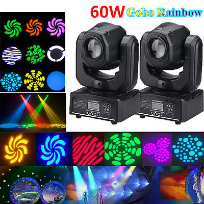 2PCS 60W RGBW SPOT Gobo LED Bühnenlicht Moving Head DMX Disco DJ Party Lighting