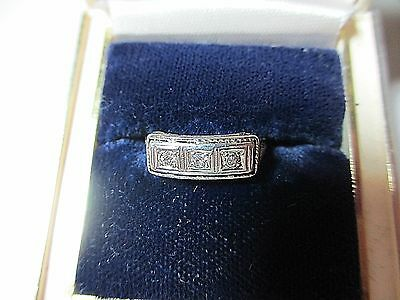 True Vintage Art Nouveau 3 Diamond Wedding Ring Setting White & Yellow 14 K Gold