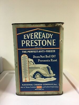 Prestone METAL ONE Gallon ANTI FREEZE CAN EVERREADY  nice oil collectible