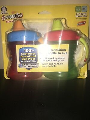 Brand New 2 pack gerber graduates fun soft spout trainer sippy cup