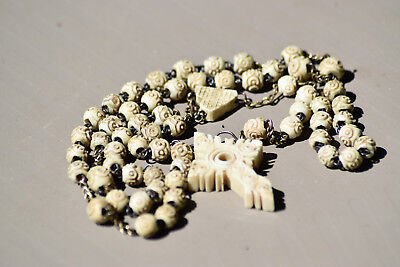 Antique French Hand Carved Rosary ,made 19 Th Century