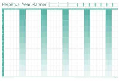 Perpetual Laminated Year Wall Planner - New Design