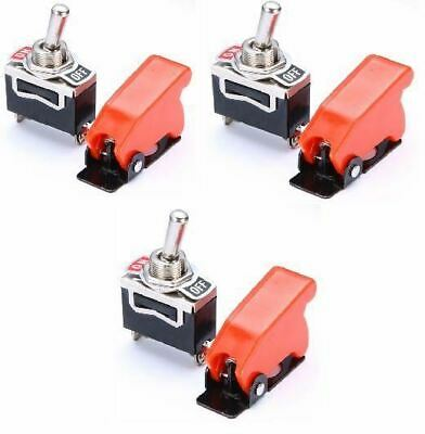 3 x Missile Switch Toggle on / off - Red - 12 Volt 20 Amp - Metal