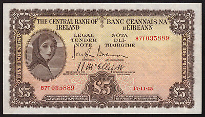 Central Bank of Ireland £5 Five Pounds 1945. Top end Good Very Fine