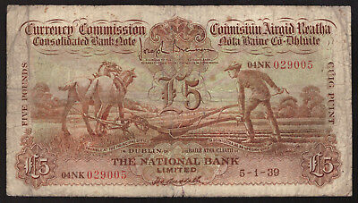 Currency Commission Consolidated Note £5 Pounds National Bank. Ploughman. VG