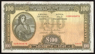 Central Bank of Ireland Lavery 100 Pounds 1977. About VF