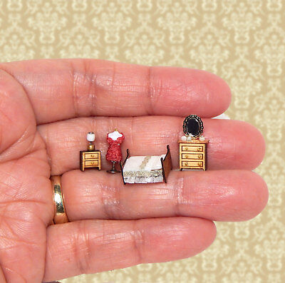 1/144th Scale Dollhouse Miniature Set 4 Bedroom Set Classic White So Tiny!