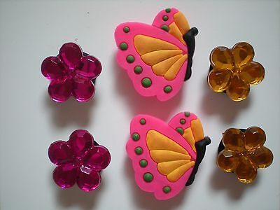 Jibbitz Croc Clog Shoe Charm Plug Embellishment 6 Butterflies Holey Accessories