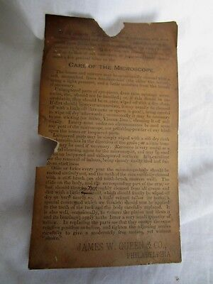 19th C Antique James W Queens & Co Care instructions for Microscope