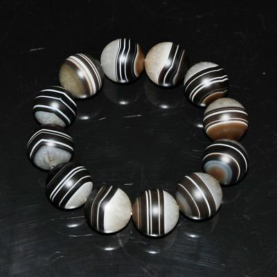 "Certified 100%Natural Black and white agate Bracelets""Grade A"" ~red"