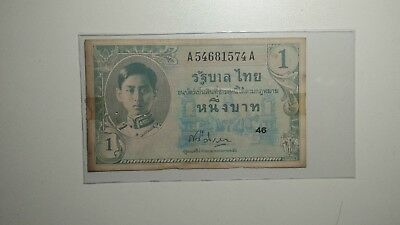 Thailand 1946 Series IX 1 Baht P-63 signed 22 Condition VF+