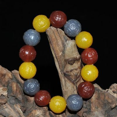 "Certified 100%Natural Red yellow grey and white agate Bracelets""Grade A"" ~red"