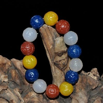"""Certified 100%Natural Red, yellow, gray, gre white agate Bracelets""""Grade A"""" ~red"""