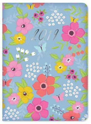 2019 Small Pocket Week To view PU Diary Blue with Pink Yellow Flowers Butterfly