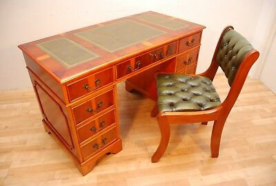 Antique Style Yew Writing Desk With Green Leather and Green Leather Chair