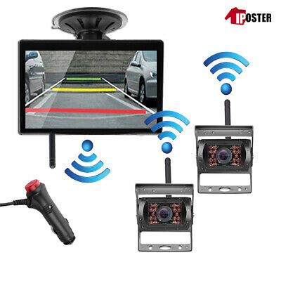 "2x Wireless 12-24V IR CCD Reversing CCD Camera +5"" Rear View Monitor For Caravan"