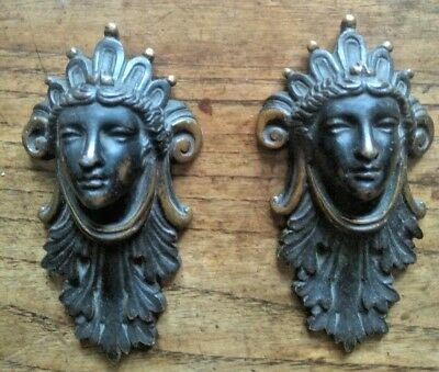 A pair of Decorative Blacked, Brass Figure Heads