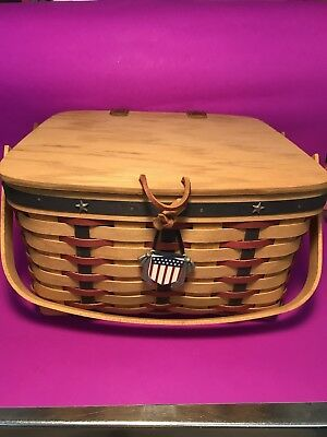 Longaberger 2003 Proud American Small Picnic Basket With Riser
