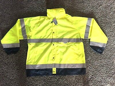 Occunomix LUX-TJR Hooded Rain Jacket/High Visibility Class 3 - 3M Reflective- XL